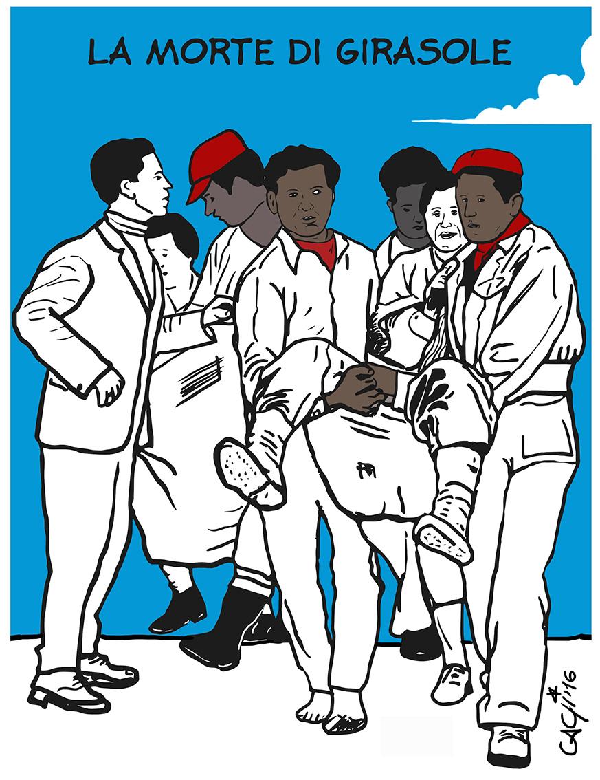"""ITALIA 4 febbraio 1956 Venosa (Potenza) Sciopero alla rovescia dei braccianti : di fronte al rifiuto delle autorità di iniziare i lavori per le opere pubbliche le forze di polizia e carabinieri aprono il fuoco sui dimostranti uccidendo Rocco Girasole. Fotografia Archivio """"Il Lavoro"""" Foto Lombardi"""