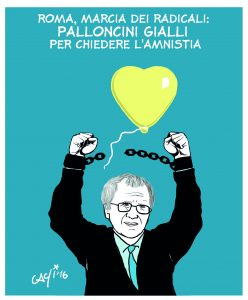 Palloncini gialli per l'Amnistia, la Giustizia e la Libertà